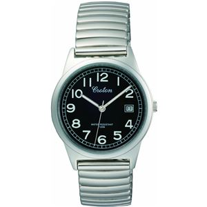 CROTON(クロトン)腕時計3針デイト10気圧防水伸縮バンドRT-140M-1