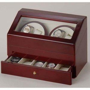 時計4本巻き上げワインダー ワインレッド KA074-WD