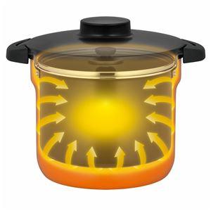 真空保温調理器/両手調理鍋 【4~6人用 オレンジ】 4.3L 200V電磁調理器対応 ふっ素コーティング加工 『THERMOS サーモス』