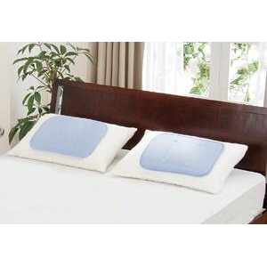 【ヒラカワ】ひんやりジェルマット 枕用 専用カバーサックス色付き【2個セット】