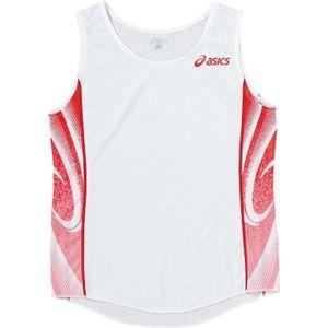 ASICS(アシックス) W'Sランニングシャツ ホワイト×レッド XT2027 XO