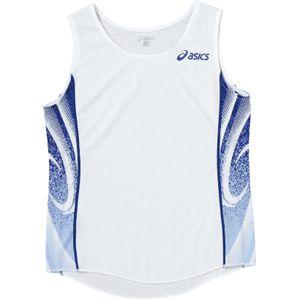 ASICS(アシックス) W'Sランニングシャツ ホワイト×ブルー XT2027 XO