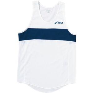 ASICS(アシックス) Jr.メンズランニングトップ ホワイト×ネービー XT3006 160