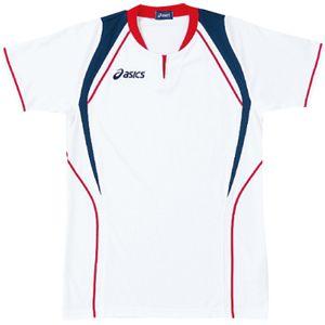 ASICS(アシックス) ゲームシャツ(半袖) ホワイト×レッド XW1291 L