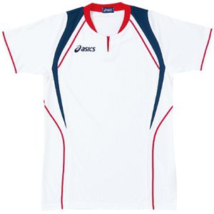 ASICS(アシックス) ゲームシャツ(半袖) ホワイト×レッド XW1291 XO