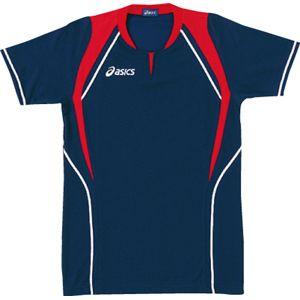 ASICS(アシックス) ゲームシャツ(半袖) ネービー×レッド XW1291 O