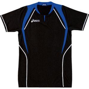 ASICS(アシックス) ゲームシャツ(半袖) ブラック×ロイヤルブルー XW1291 L