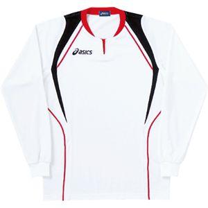 ASICS(アシックス) ゲームシャツ(長袖) ホワイト×レッド XW1292 O