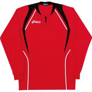 ASICS(アシックス) ゲームシャツ(長袖) レッド×ブラック XW1292 XO