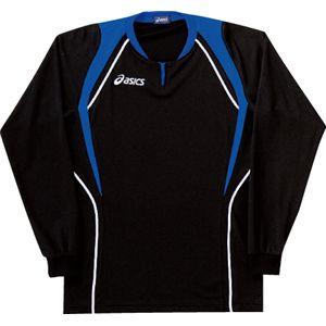 ASICS(アシックス) ゲームシャツ(長袖) ブラック×ロイヤルブルー XW1292 L