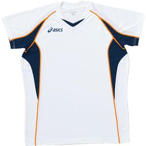 ASICS(アシックス) ゲームシャツHS ホワイトXネイビー XW1295 O