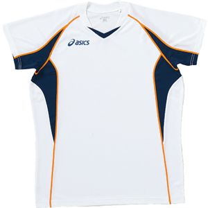 ASICS(アシックス) ゲームシャツHS ホワイトXネイビー XW1295 SS