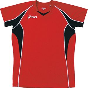 ASICS(アシックス) ゲームシャツHS VレッドXブラック XW1295 SS