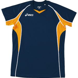 ASICS(アシックス) ゲームシャツHS ネイビーXゴールド XW1295 M