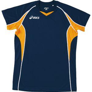 ASICS(アシックス) ゲームシャツHS ネイビーXゴールド XW1295 SS
