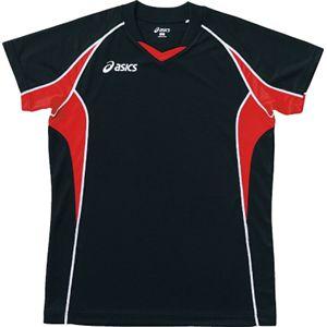 ASICS(アシックス) ゲームシャツHS ブラックXVレッド XW1295 O