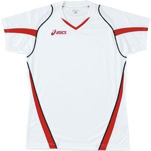 ASICS(アシックス) ゲームシャツHS ホワイト×Vレッド XW1302 M