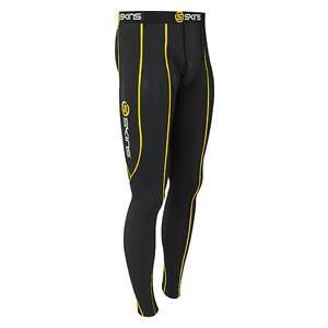 SKINS(スキンズ) SPORT スポーツロングタイツ ブラック ブラック/イエロー b10001001 【XSサイズ】の写真1
