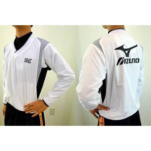 MIZUNO(ミズノ) ジュニア用 Vネックジャケット 52wj-713 ホワイト×ブラック(01) 140サイズ - 拡大画像