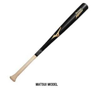 MIZUNO(ミズノ) 超軽量550gのMATSUI型!! 少年軟式用木製バット 『プロモデル』 ブラック×G透明
