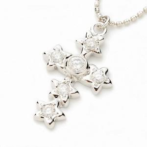 Beji (ベジ) star cross/ネックレス/Sparkle Silver×White Star【czダイヤ】【網戸もえさん着用】の写真1