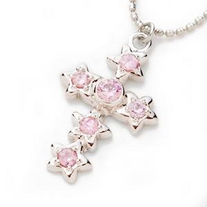 Beji (ベジ) star cross/ネックレス/Spakle Silver×Pink Star【czダイヤ】の写真1