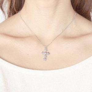 Beji (ベジ) star cross/ネックレス/Spakle Silver×Pink Star【czダイヤ】の写真3