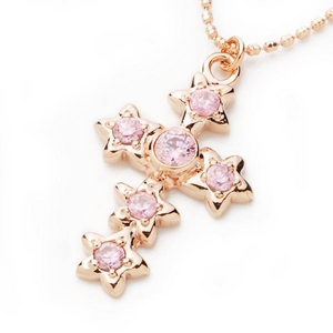 Beji (ベジ) star cross/ネックレス/Natural Pink×Pink Star【czダイヤ】【網戸もえさん着用】の写真1