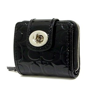 【COACH OUTLET】コーチ ターンロック エンボスド パテント スリム ミディアム ウォレット/コンパクト財布 F49389 SV/BK  - 拡大画像