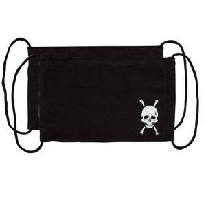 ZAT抗菌デザインマスク + 抗菌コットン×6個セット 【子供用】ドクロ/黒