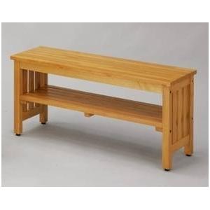 エントランスベンチ(大) 木製 棚収納付き [室内/屋外/玄関/ガーデニング] CS-8026 ナチュラル - 拡大画像
