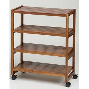 オープンラック 木製 3段 棚板/調節可 幅60cm×奥行31cm キャスター付き HIQ-6075 BR ブラウン  - 拡大画像