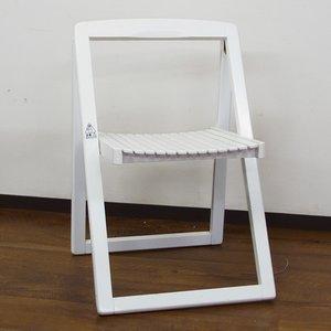 【ガーデニング】木製ホワイト折りたたみチェア ホワイト - 拡大画像