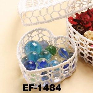 レースバスケット/蓋付きバスケット 【3個入り/1セット】 コットン/樹脂コーティング EF-1484 〔インテリア雑貨〕