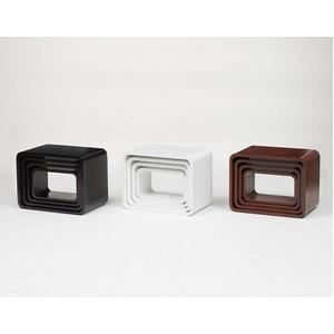 【おしゃれ雑貨】キューブラック スクエアボックス ホワイト (4サイズセット:L/M/S/SS)