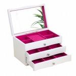 ジュエリーボックス(宝石箱) 3段 引き出し収納付き ホワイト(白)