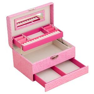 クロコジュエリーボックス(宝石箱)/ミニドレッサー 引き出し収納付き ピンク  の画像