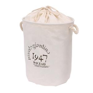 ランドリーバスケット /洗濯物入れ 【ラウンド型 レター シンプル】 ホワイト 布/ファブリック製 16-660
