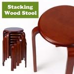 スタッキングチェア/チェスト【6脚セット】 木製 丸型(円形) ブラウン の画像