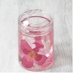 アクリル製歯ブラシスタンド/洗面所用具 【ピンクオーキッド】 造花