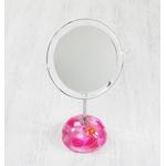 アクリル製スタンドミラー/卓上鏡 【丸型 ピンクオーキッド】 造花