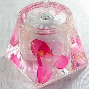アクリル製トイレブラシ/トイレ掃除用具 【ピンクオーキッド】 造花