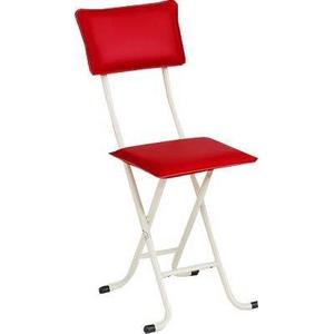 折りたたみチェア(デラックスカラーチェア) スチールパイプ 背もたれ付き レッド(赤)