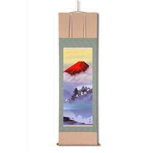 風景専門店あゆわら 《掛け軸》鈴村秀山 掛軸(尺五) 「赤富士飛翔」 - 拡大画像