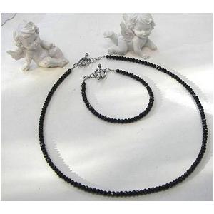 ブラックスピネルネックレス 45cm + ブレス18cm 4mmタイプ