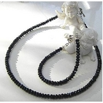 ブラックスピネルネックレス 45cm + ブレス20cm 5mmタイプ