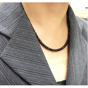 ブラックスピネルネックレス 45cm + ブレス20cm 5mmタイプ h03