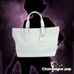 【アウトレット】 Champagne pop(シャンパン ポップ) レザー メッシュ トートバッグ 4000322165003 ホワイト