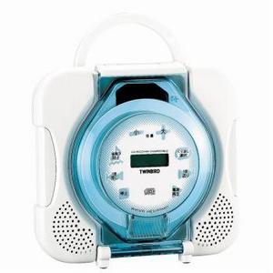 TWINBIRD(ツインバード) 防水仕様 ポータブルCDプレーヤー AV-9139BL 2電源対応で洗面所で台所で屋外でどこでも使える!耐震設定可能