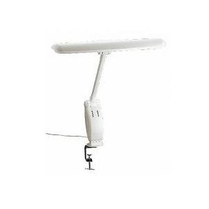 ツインバード クランプ固定 アーム型2灯式タッチインバーター蛍光灯 LK-8283LGY